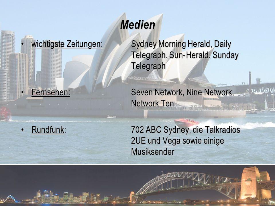 Medien wichtigste Zeitungen: Sydney Morning Herald, Daily Telegraph, Sun- Herald, Sunday Telegraph.