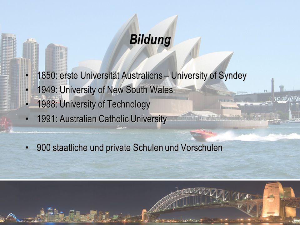 Bildung 1850: erste Universität Australiens – University of Syndey