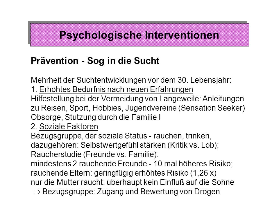 Psychologische Interventionen