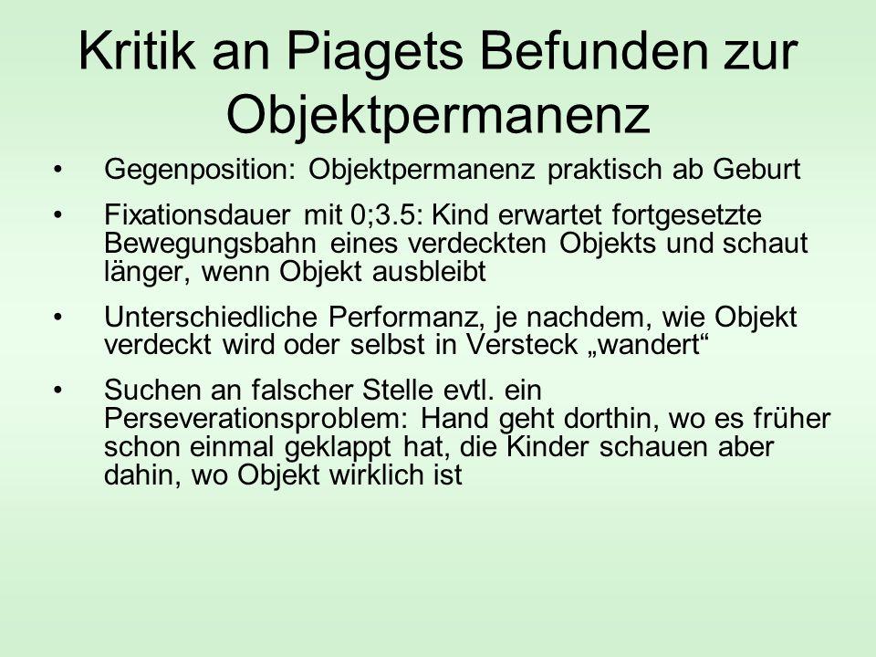 Kritik an Piagets Befunden zur Objektpermanenz