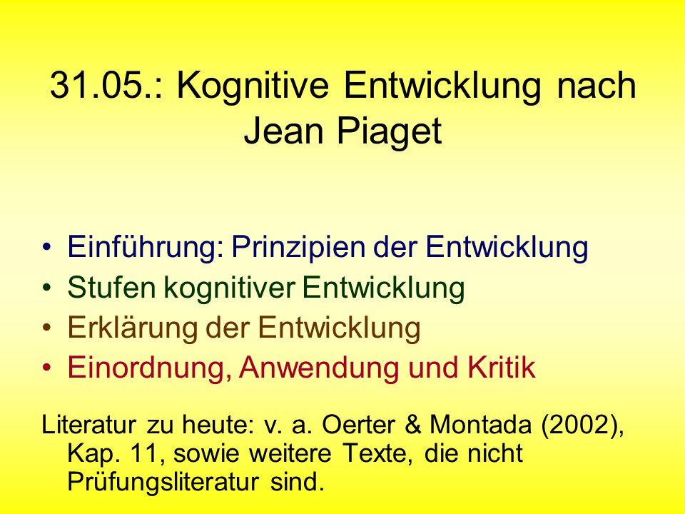 31.05.: Kognitive Entwicklung nach Jean Piaget