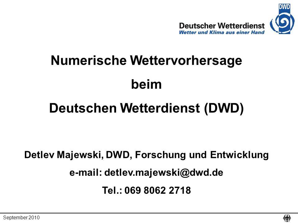 Numerische Wettervorhersage beim Deutschen Wetterdienst (DWD)