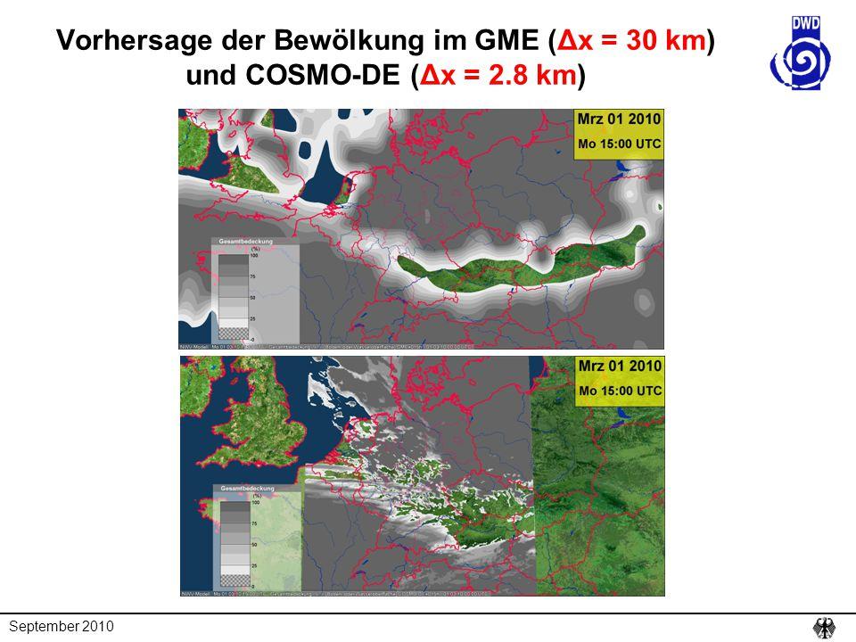 Vorhersage der Bewölkung im GME (Δx = 30 km) und COSMO-DE (Δx = 2
