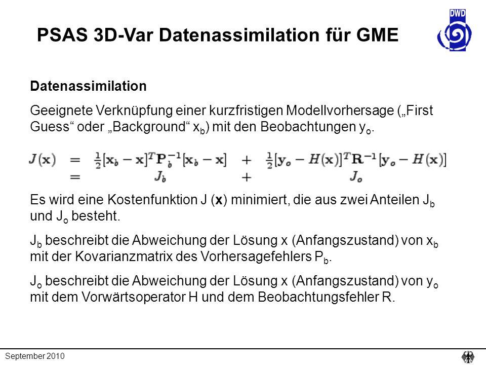 PSAS 3D-Var Datenassimilation für GME