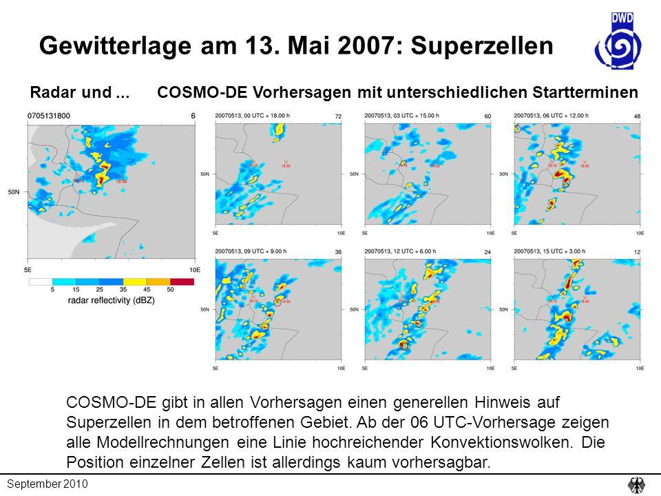 Gewitterlage am 13. Mai 2007: Superzellen