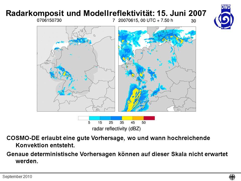 Radarkomposit und Modellreflektivität: 15. Juni 2007