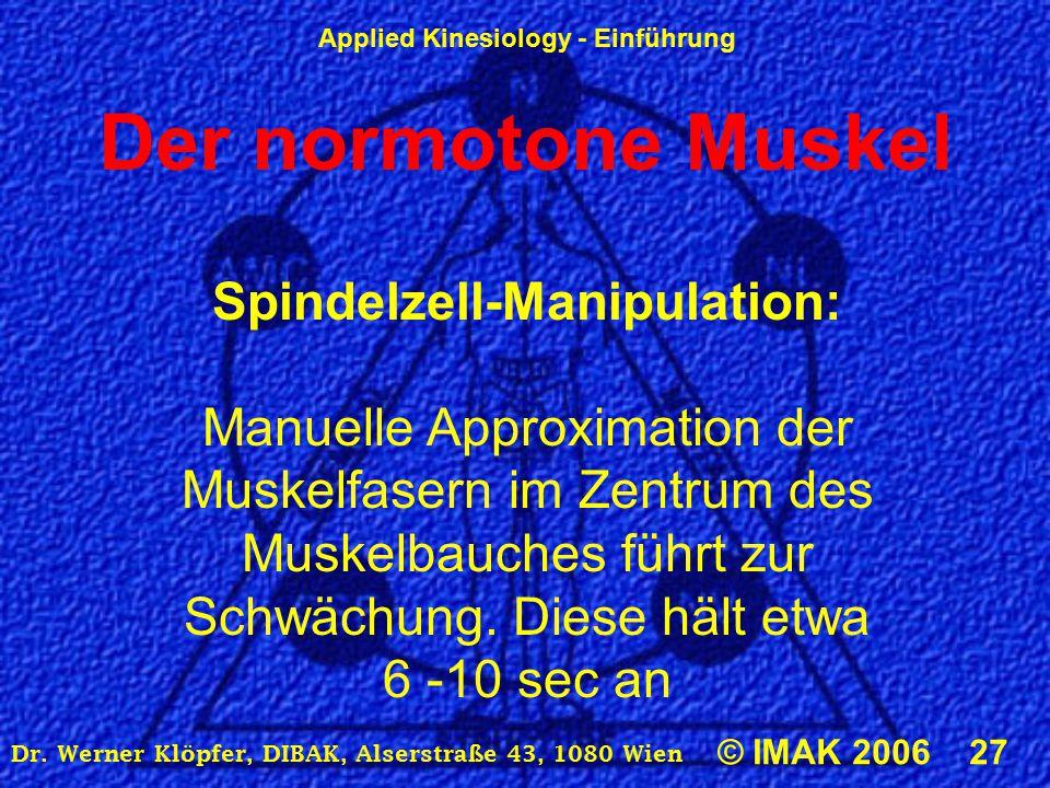 Der normotone Muskel Spindelzell-Manipulation: