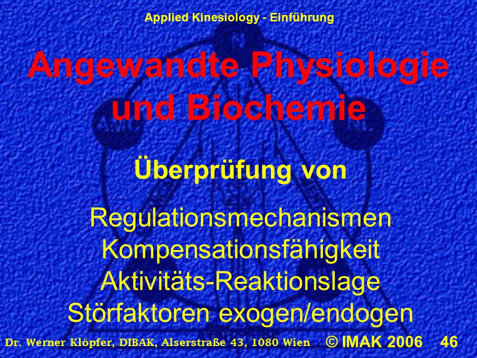 Angewandte Physiologie und Biochemie