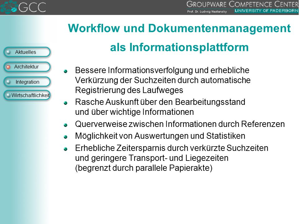 Workflow und Dokumentenmanagement als Informationsplattform