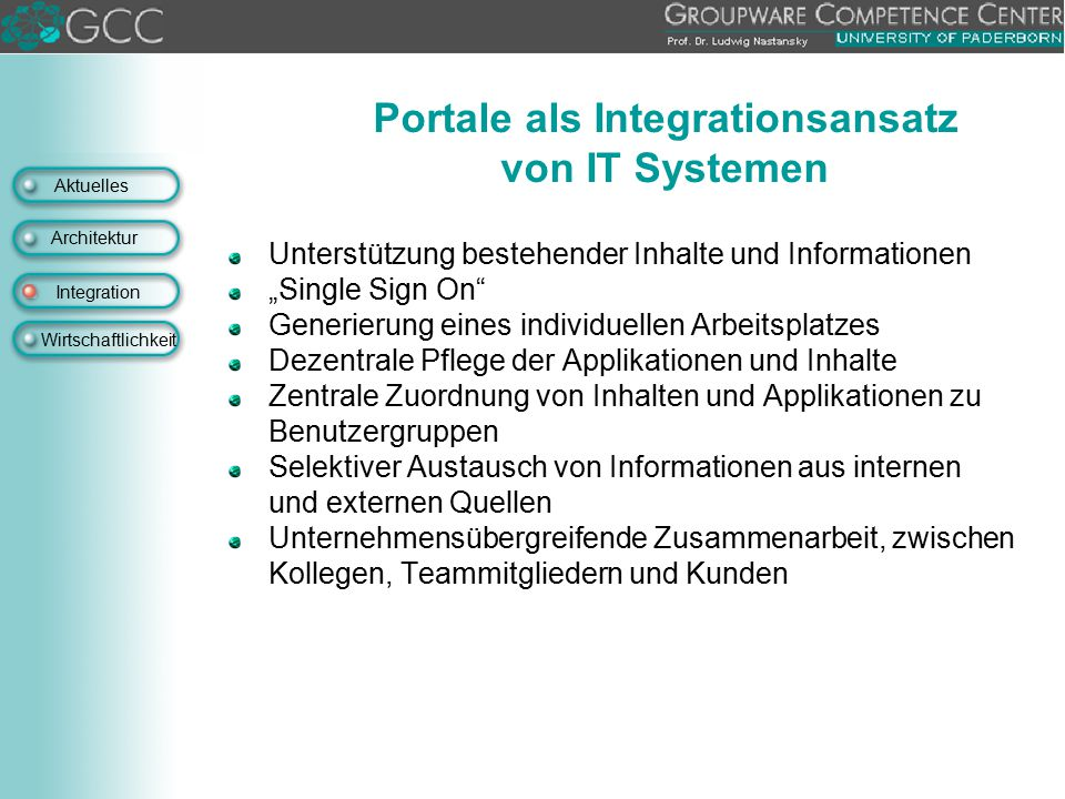 Portale als Integrationsansatz von IT Systemen