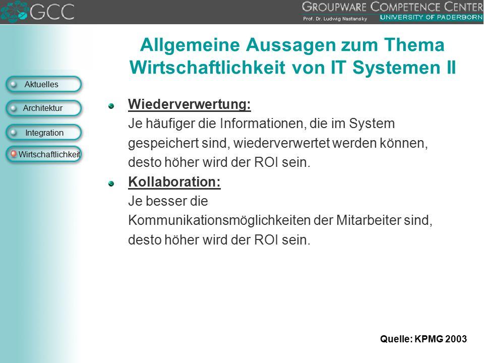 Allgemeine Aussagen zum Thema Wirtschaftlichkeit von IT Systemen II