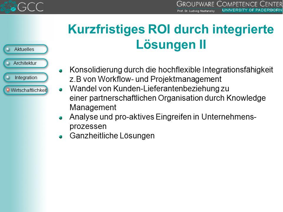 Kurzfristiges ROI durch integrierte Lösungen II
