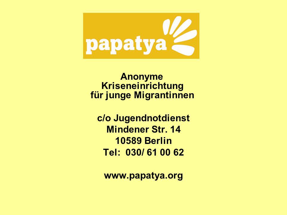 Anonyme Kriseneinrichtung für junge Migrantinnen