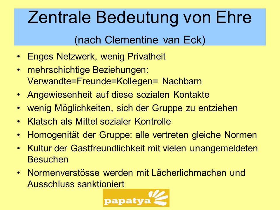 Zentrale Bedeutung von Ehre (nach Clementine van Eck)