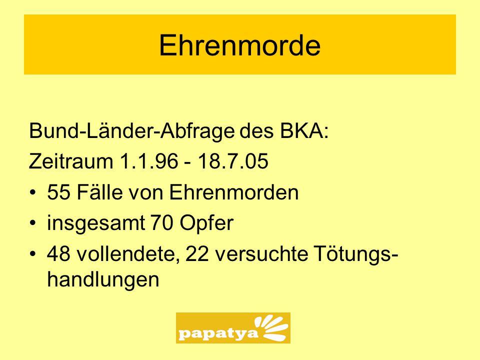 Ehrenmorde Bund-Länder-Abfrage des BKA: Zeitraum 1.1.96 - 18.7.05