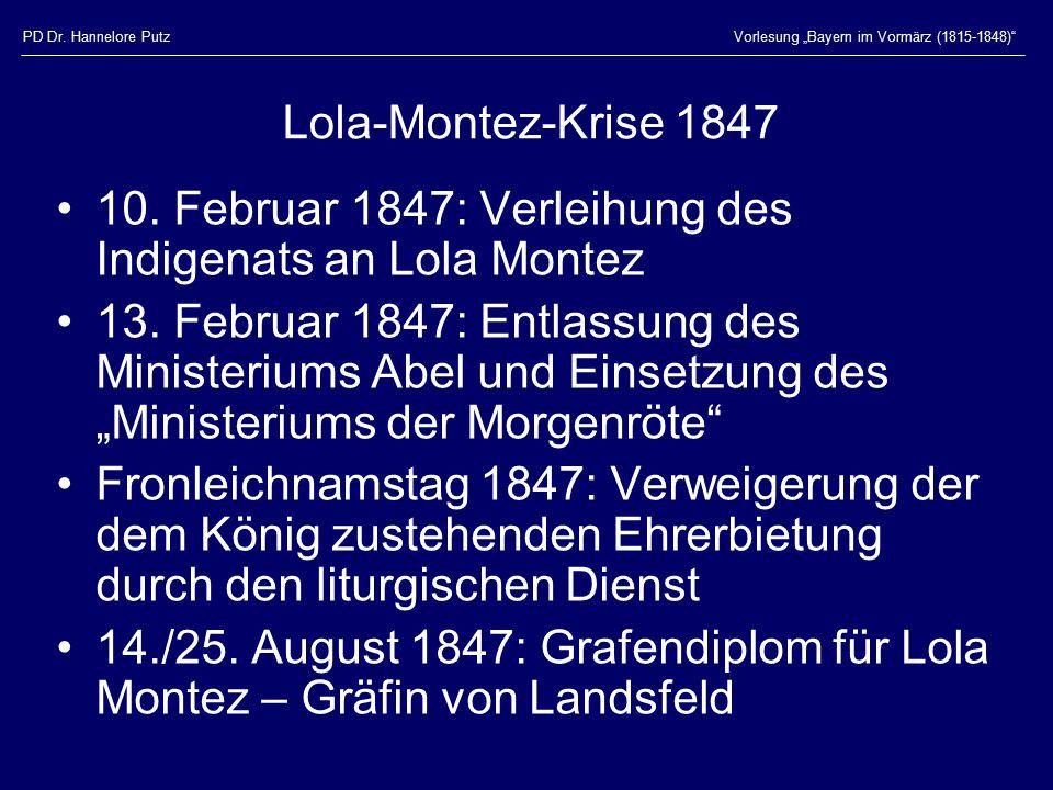 10. Februar 1847: Verleihung des Indigenats an Lola Montez