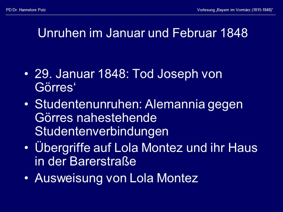 Unruhen im Januar und Februar 1848