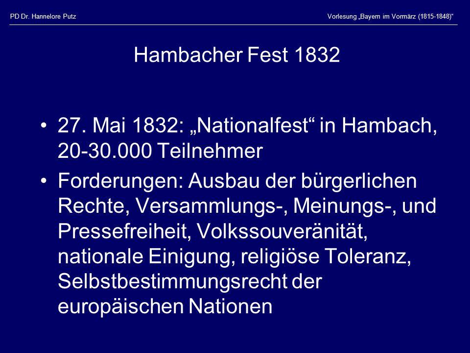 "27. Mai 1832: ""Nationalfest in Hambach, 20-30.000 Teilnehmer"