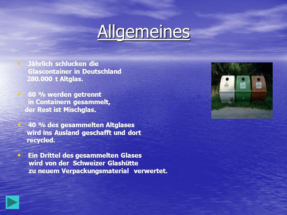 Allgemeines Jährlich schlucken die Glascontainer in Deutschland