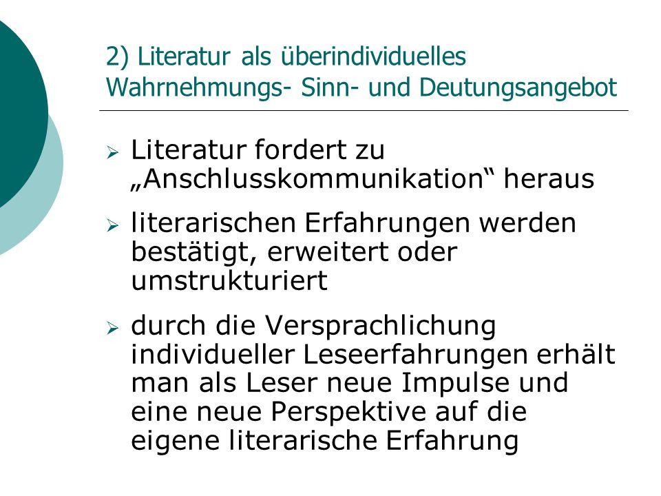 """Literatur fordert zu """"Anschlusskommunikation heraus"""
