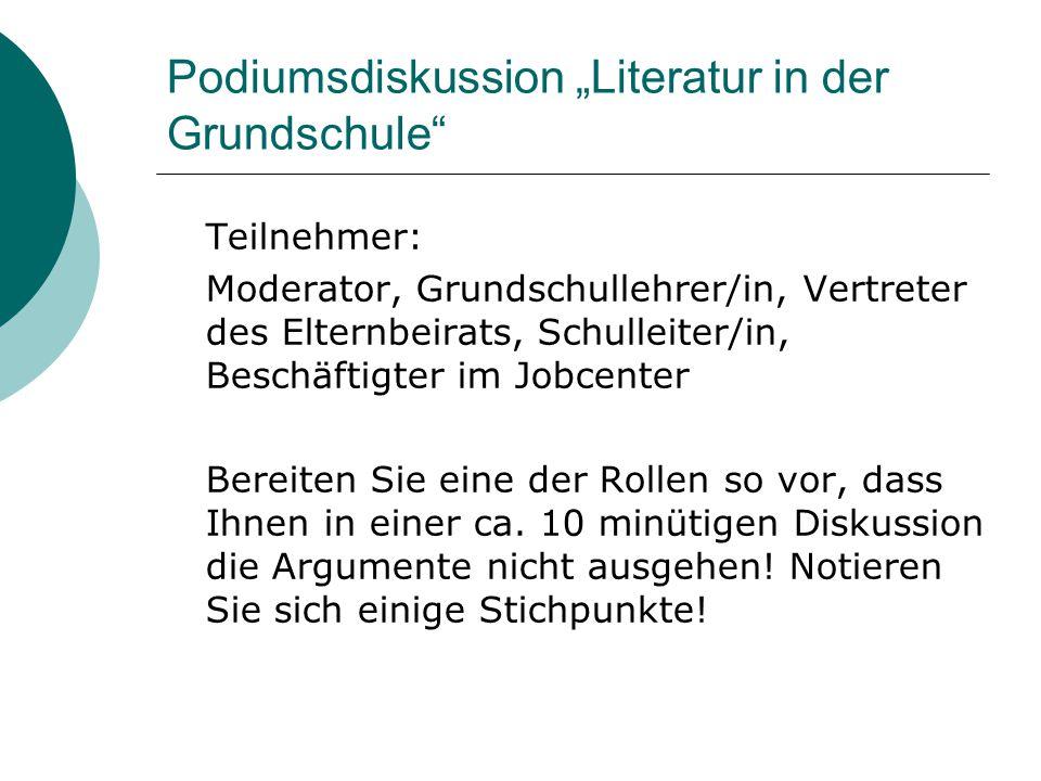 """Podiumsdiskussion """"Literatur in der Grundschule"""