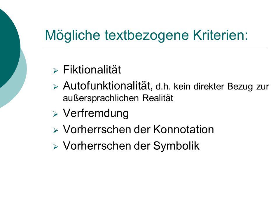 Mögliche textbezogene Kriterien: