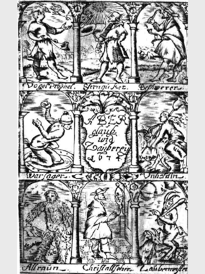 Wahrsager, Hellseher, Zauberer - beigefügter Kupferstich aus Anhorn von Hartwiss Magiologia - 1674
