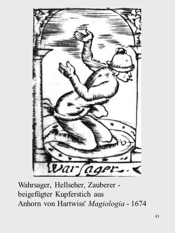 Ein Mann konsultiert eine Wahrsagerin, der Teufel setzt ihm eine Narrenkappe auf.