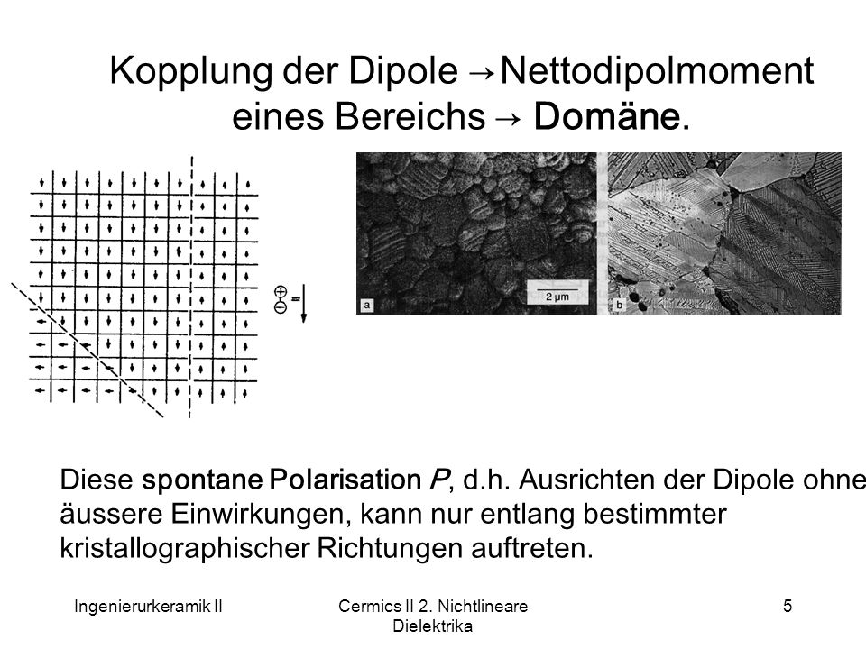 Kopplung der Dipole → Nettodipolmoment eines Bereichs → Domäne.