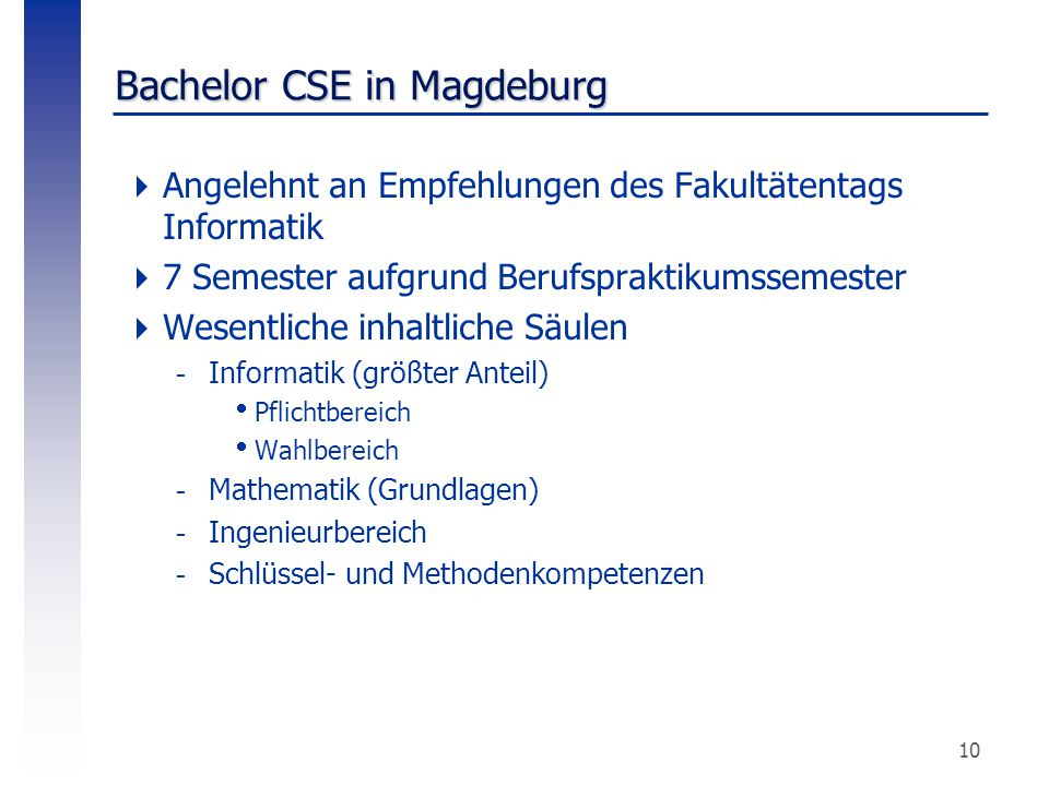 Bachelor CSE in Magdeburg