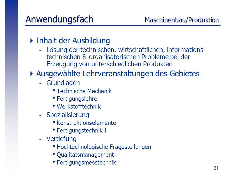 Anwendungsfach Maschinenbau/Produktion