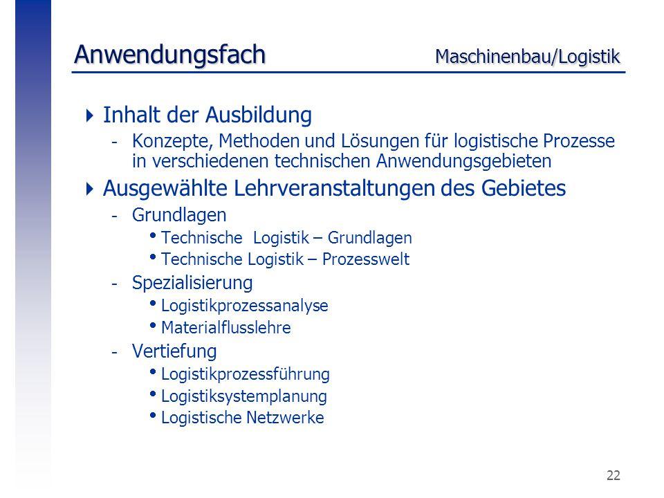 Anwendungsfach Maschinenbau/Logistik
