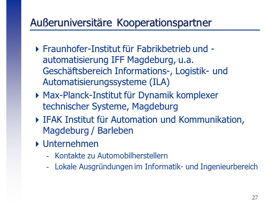 Außeruniversitäre Kooperationspartner