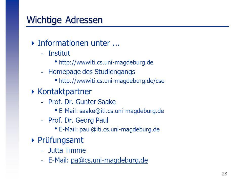 Wichtige Adressen Informationen unter ... Kontaktpartner Prüfungsamt