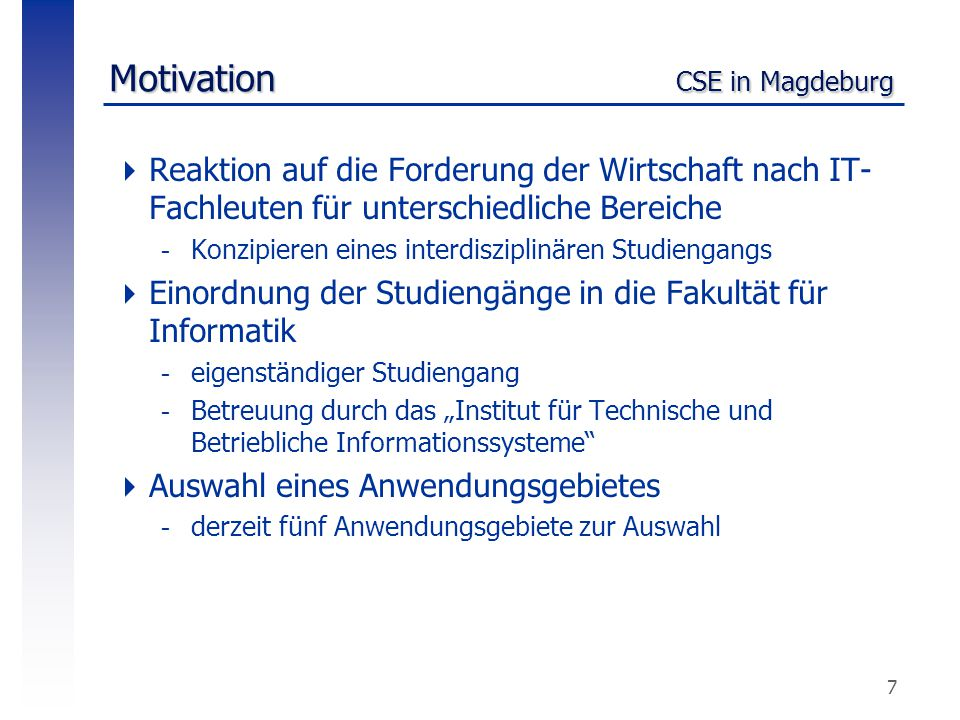 Motivation CSE in Magdeburg