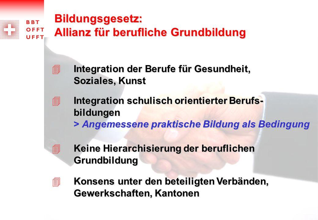Bildungsgesetz: Allianz für berufliche Grundbildung