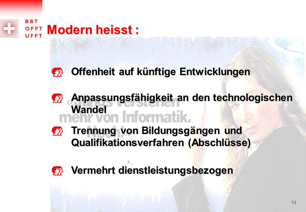Modern heisst : Offenheit auf künftige Entwicklungen