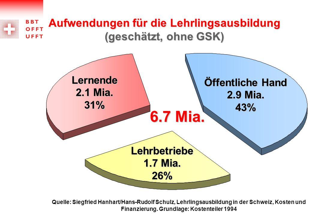 Aufwendungen für die Lehrlingsausbildung (geschätzt, ohne GSK)