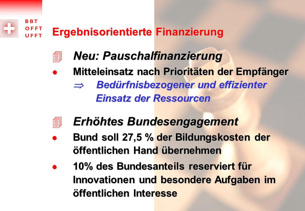 Neu: Pauschalfinanzierung