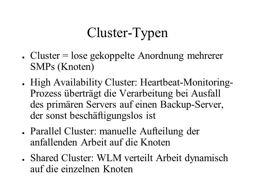 Cluster-Typen Cluster = lose gekoppelte Anordnung mehrerer SMPs (Knoten)