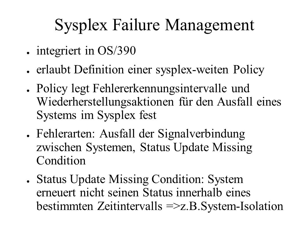 Sysplex Failure Management