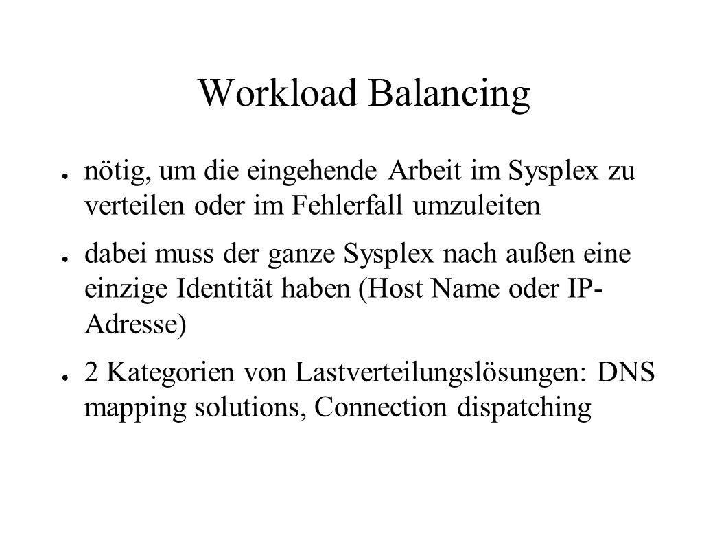 Workload Balancing nötig, um die eingehende Arbeit im Sysplex zu verteilen oder im Fehlerfall umzuleiten.