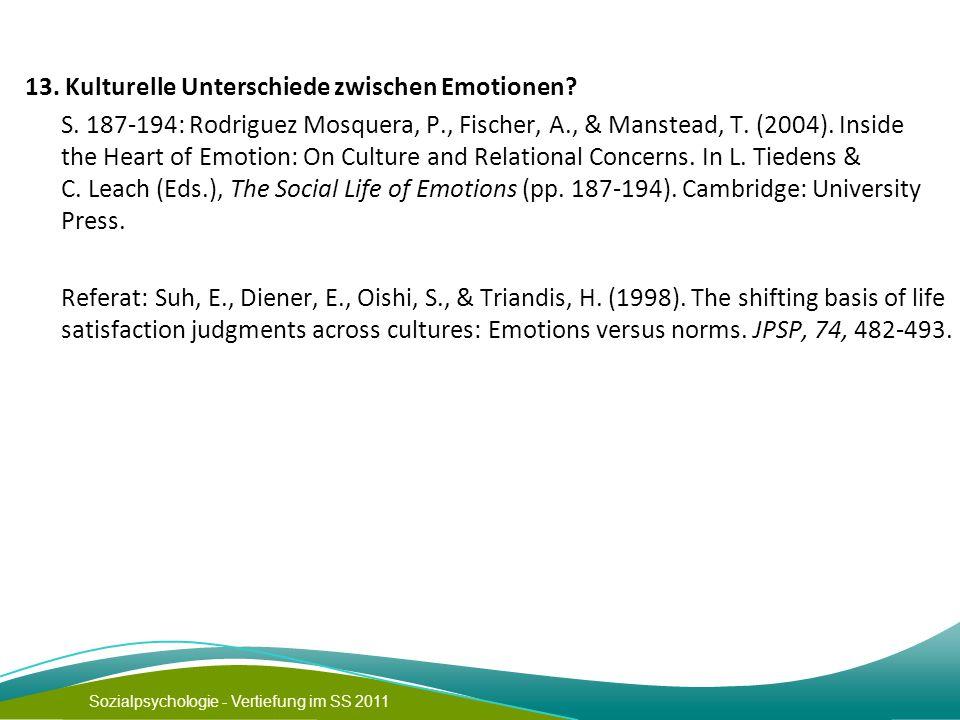 13. Kulturelle Unterschiede zwischen Emotionen