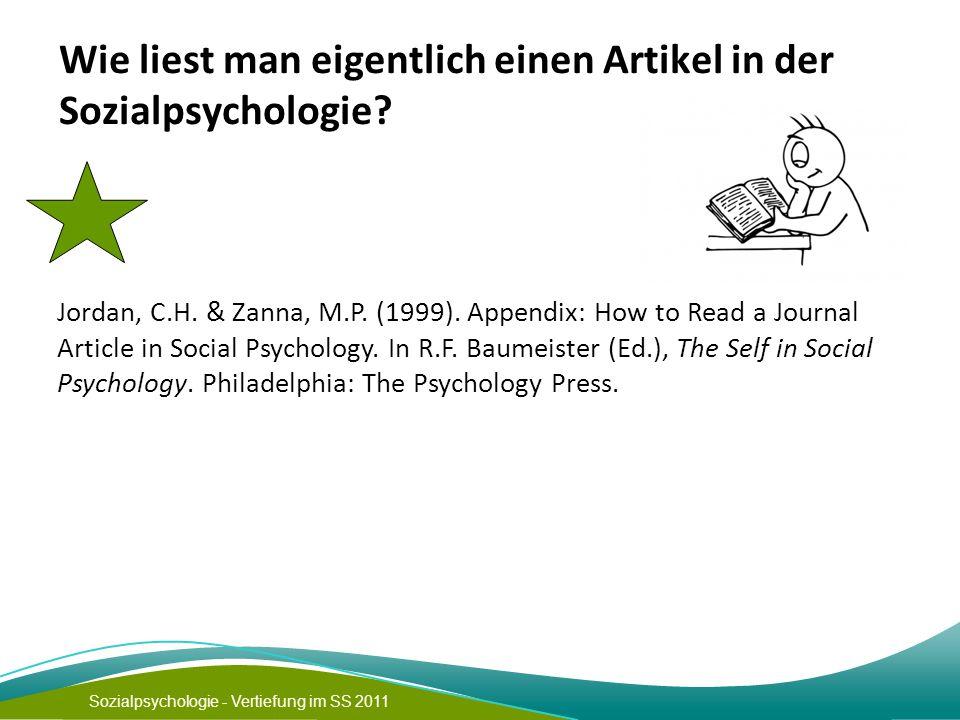 Wie liest man eigentlich einen Artikel in der Sozialpsychologie