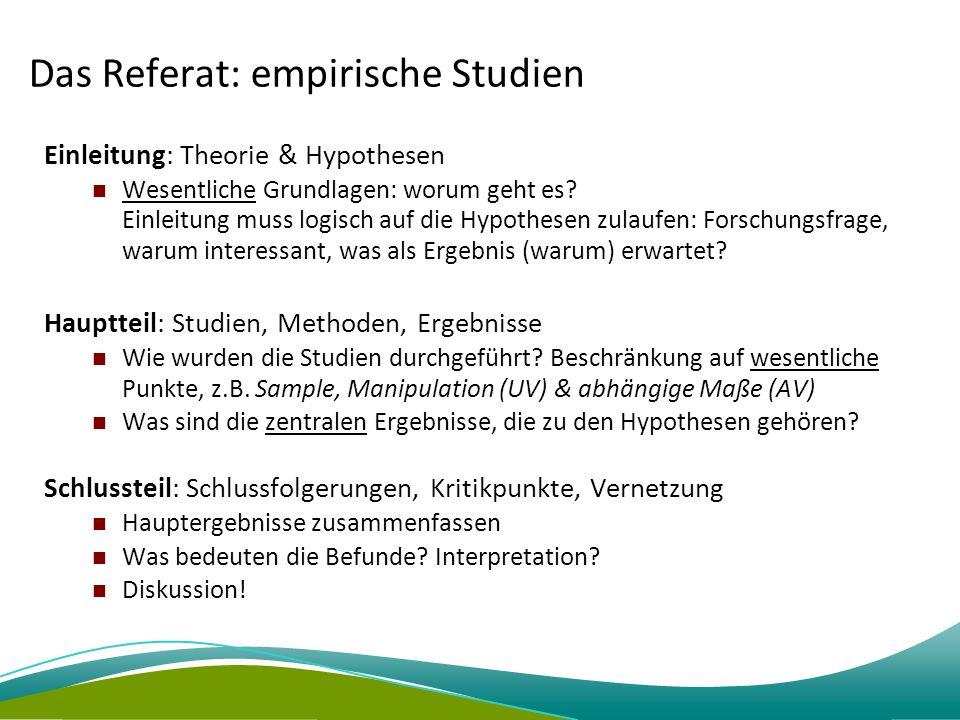 Das Referat: empirische Studien
