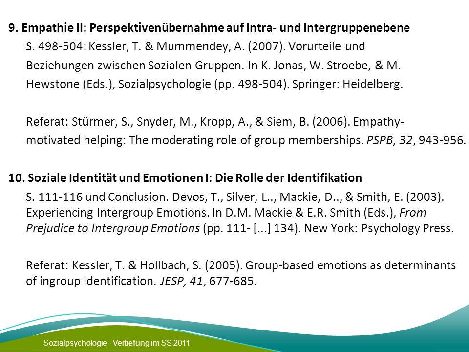 9. Empathie II: Perspektivenübernahme auf Intra- und Intergruppenebene S.