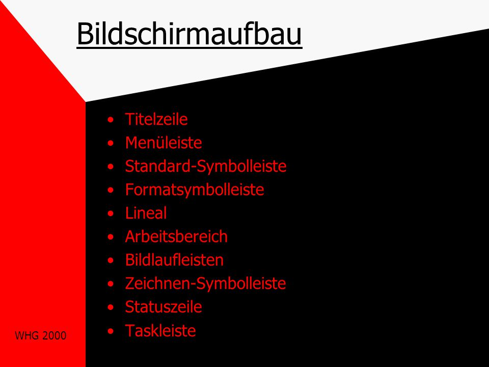 Bildschirmaufbau Titelzeile Menüleiste Standard-Symbolleiste