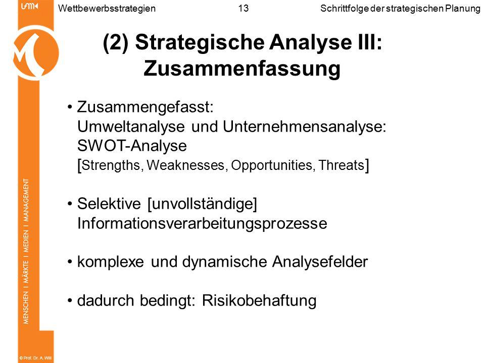 (2) Strategische Analyse III: Zusammenfassung