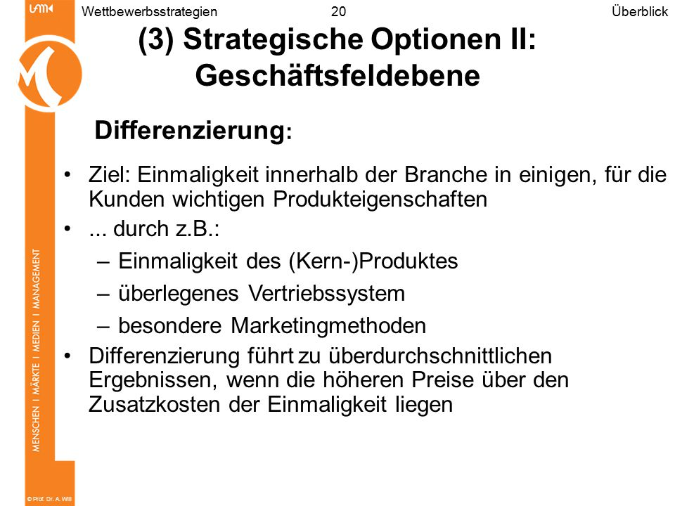(3) Strategische Optionen II: