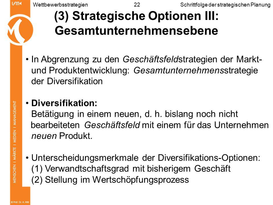 (3) Strategische Optionen III: Gesamtunternehmensebene